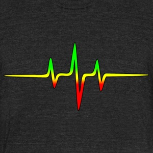 Music Pulse, Reggae, Sound Wave, Rastafari, Jah,  T-Shirts - Unisex Tri-Blend T-Shirt by American Apparel