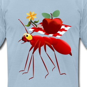 Fire Ant and Picnic Apple - Men's T-Shirt by American Apparel