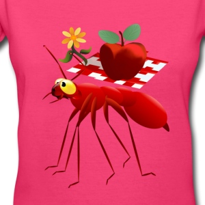 Fire Ant and Picnic Apple - Women's V-Neck T-Shirt
