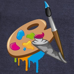 a Paint brush, colors and a painter's palette Long Sleeve Shirts - Women's Wideneck Sweatshirt