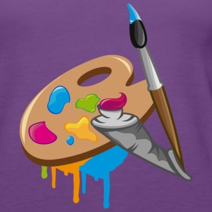 a Paint brush, colors and a painter's palette Tanks - Women's Premium Tank Top