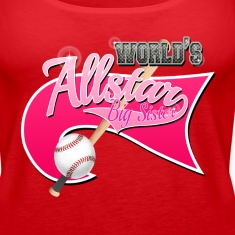 Worlds Allstar Big Sister Baseball Pink park Flag Tanks