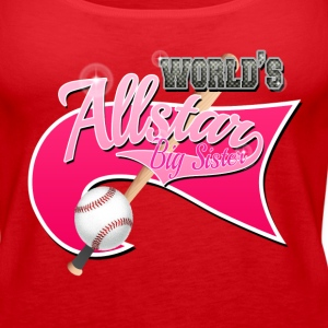 Worlds Allstar Big Sister Baseball Pink park Flag Tanks - Women's Premium Tank Top