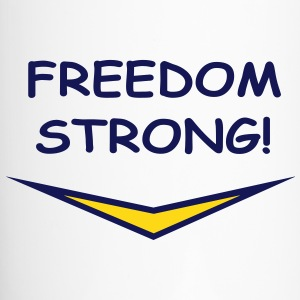 Freedom Strong in blue, vector Bottles & Mugs - Travel Mug