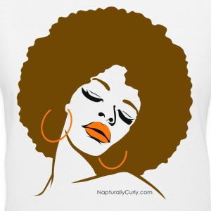 Afro Diva (Brown Afro) - Women's V-Neck T-Shirt