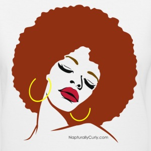 Afro Diva (Red Afro) - Women's V-Neck T-Shirt