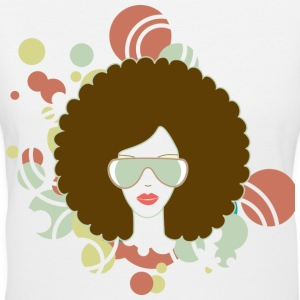 Brown Afro (Abstract) - Women's V-Neck T-Shirt