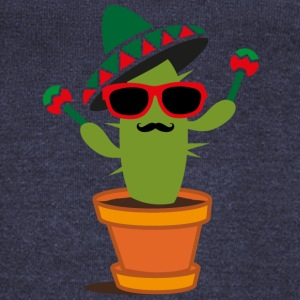 Cactus with sombrero and maracas  Long Sleeve Shirts - Women's Wideneck Sweatshirt