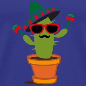 Cactus with sombrero and maracas  T-Shirts - Men's Premium T-Shirt