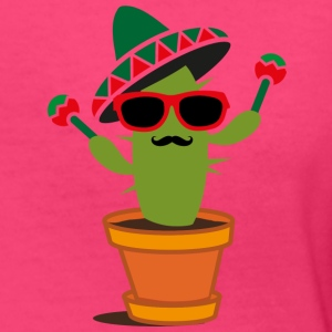 Cactus with sombrero and maracas  Women's T-Shirts - Women's V-Neck T-Shirt