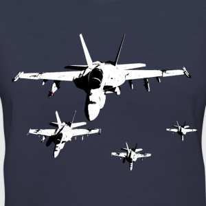 F-18 Fighter Jets in Formation - Women's V-Neck T-Shirt