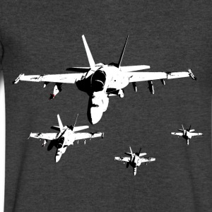 F-18 Fighter Jets in Formation - Men's V-Neck T-Shirt by Canvas