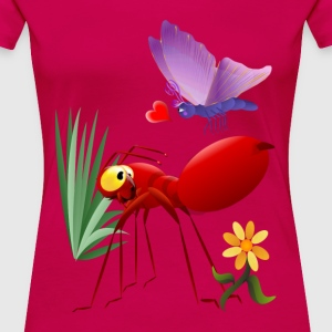Fire Ant and Purple Butterfly-Love is in the air. - Women's Premium T-Shirt