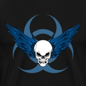 Winged Skull & Biohazard Tee (Blue) - Men's Premium T-Shirt