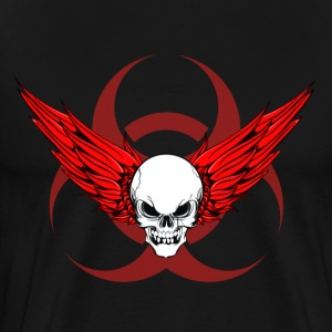 Winged Skull & Biohazard Tee (Red) - Men's Premium T-Shirt