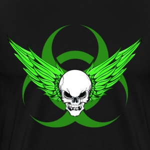 Winged Skull & Biohazard (Green) - Men's Premium T-Shirt