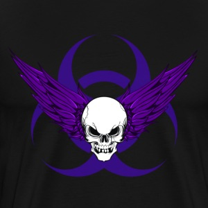 Winged Skull & Biohazard (Purple) - Men's Premium T-Shirt