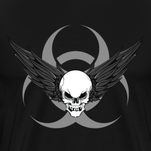 Winged Skull & Biohazard (Grey) - Men's Premium T-Shirt