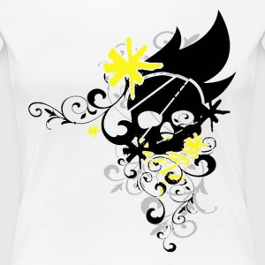 Flower Skull (Yellow) - Women's Premium T-Shirt