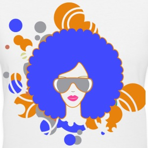 Blue Afro Abstract - Women's V-Neck T-Shirt