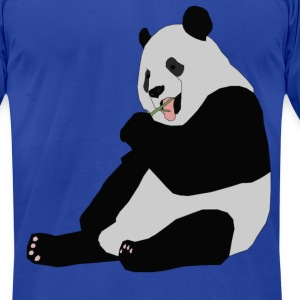 Panda Eating Bamboo T-Shirts - Men's T-Shirt by American Apparel