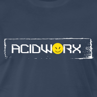 Design ~ AcidWorx White on Navy - Men's Premium T-Shirt