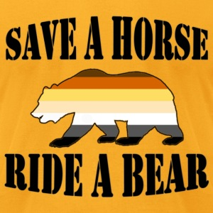 Gay Bear Pride Flag Save a Horse Ride a Bear - Men's T-Shirt by American Apparel