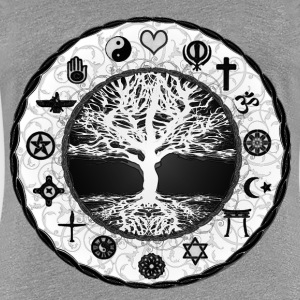 Tree of Life Unity Featuring all Religions  - Women's Premium T-Shirt