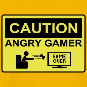 Caution angry gamer - Men's Premium T-Shirt