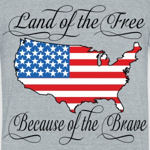 Land of the Free USA Flag T-Shirts - Unisex Tri-Blend T-Shirt by American Apparel
