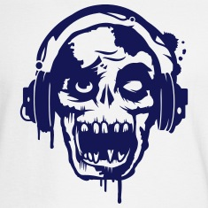 a zombie with headphones  Long Sleeve Shirts