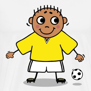 Soccer player - yellow and white jersey T-Shirts - Men's Premium T-Shirt
