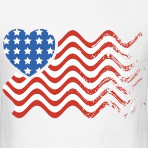 Wavy American Heart Flag - Men's T-Shirt