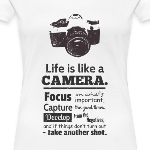 grunge camera quote on life Women's T-Shirts - Women's Premium T-Shirt