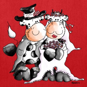 Cow Wedding - Bride - Groom Bags & backpacks - Tote Bag