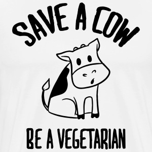 Save a cow, be a vegetarian. T-Shirts - Men's Premium T-Shirt