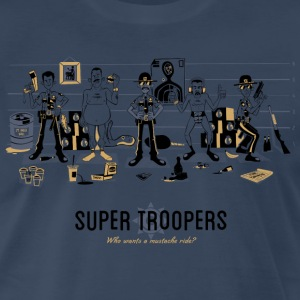 Super Troopers Navy T-shirt Illustrated by Ian Gla - Men's Premium T-Shirt