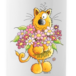 Sweet Cat With Flowers - Cats Bottles & Mugs - Water Bottle