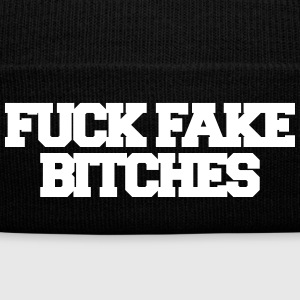 Fuck fake bitches Caps - Knit Cap with Cuff Print