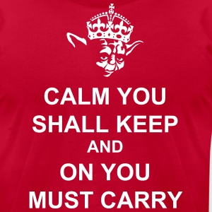 Keep Calm and Carry on with Yoda Force T-Shirts - Men's T-Shirt by American Apparel