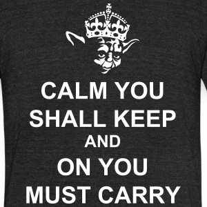 Keep Calm and Carry on with Yoda Force T-Shirts - Unisex Tri-Blend T-Shirt by American Apparel