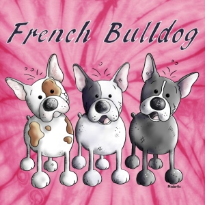 Three French Bulldogs - Bulldog - Dog T-Shirts - Unisex Tie Dye T-Shirt
