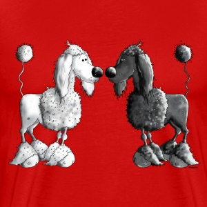 Black And White Poodle - Dog T-Shirts - Men's Premium T-Shirt