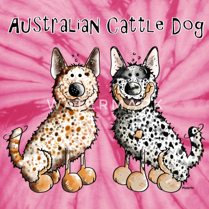 Two funny Australian Cattle Dogs - Dog T-Shirts - Unisex Tie Dye T-Shirt