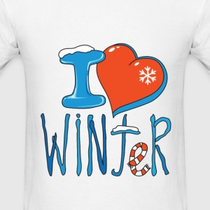 Men's White T-Shirt I love winter - Men's T-Shirt