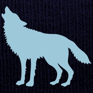 Howling Wolf (Silhouette) Caps - Knit Cap with Cuff Print