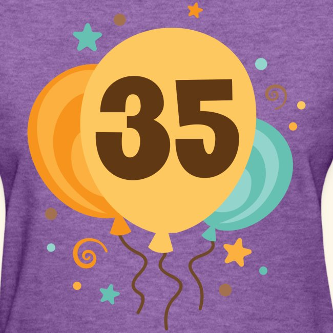 35th Birthday Womens T Shirt Balloons