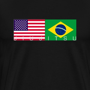 Jiu Jitsu with USA and Brazil Flag - Men's Premium T-Shirt