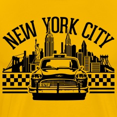 New York City Skyline and checker taxi