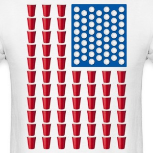 Beer Pong Drinking Game American Flag T-Shirts - Men's T-Shirt
